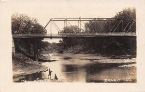 Beloit Kansas~Boys Fishing Sandbar Below Solomon River Bridge~Bike Top~1912 RPPC