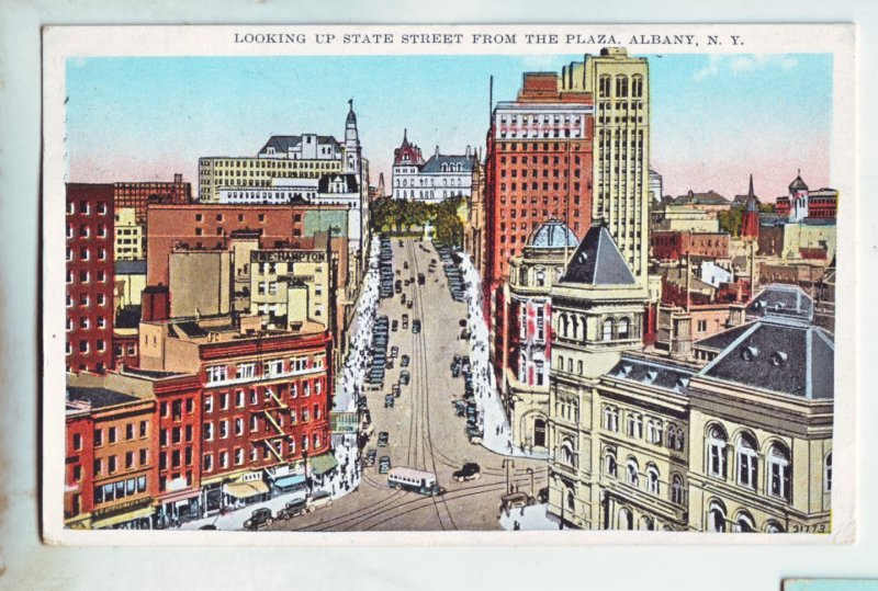 P1224 1931 birds eye view used postcard old cars bus etc st. albany new york