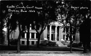 Broken Bow Nebraska~Custer County Court House~1950s Baker Photo RPPC