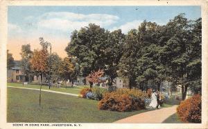 Jamestown New York~Dowe Park~Victorian Lady & Gent~1917 Postcard