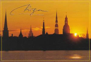 Latvia Sunset Over Riga