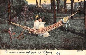 Tennis Post Card A Kiss Man and Woman Kiss in Hammock 1909