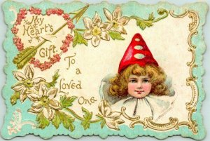 Vintage 1910s VALENTINE'S DAY Greeting Card My Heart's Gift / To a Loved One