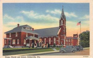 House, Church, and School, Dickeyville, Wisconsin, Early Linen Postcard, Unused