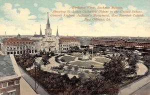 New Orleans LA Birdseye View Jackson Revolutionary Monument Antique PC K23934