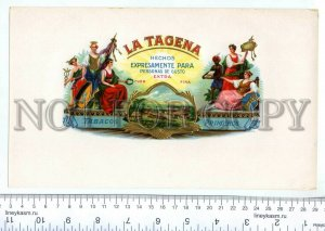 500075 LA TAGENA Vintage embossed cigar box large label
