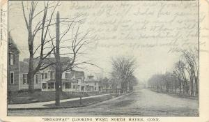 North Haven CT~Broadway Street Looking West~Nice Homes~Bare Trees~1905 Postcard