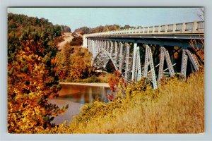 Wellston MI- Michigan, Cooley Bridge, Scenic Roadway, Panoramic, Chrome Postcard