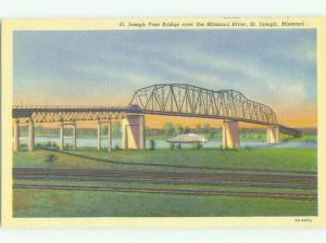 Unused Linen BRIDGE SCENE St. Joseph Missouri MO HQ9893