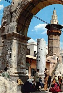 Syria Damascus Roman Arch & Minaret, L'Arc Romain, native people