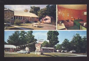 HULBERT MICHIGAN 1963 FORD FAIRLANE GAS STATION FOX DEN MOTEL OLD POSTCARD