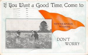 Minneapolis MInnesota~Two People Picking Flowers~Pennant 1910 PC