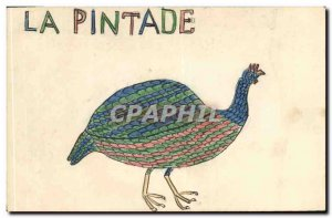 Old Postcard Fancy (drawing hand) Guinea fowl Bird