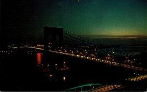 New York City Brooklyn Bridge At Night
