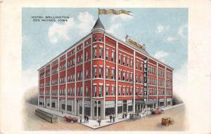DES MOINES IOWA HOTEL WELLINGTON~TROLEY~AUTOS ARTIST POSTCARD  1916 RPO POSTMARK