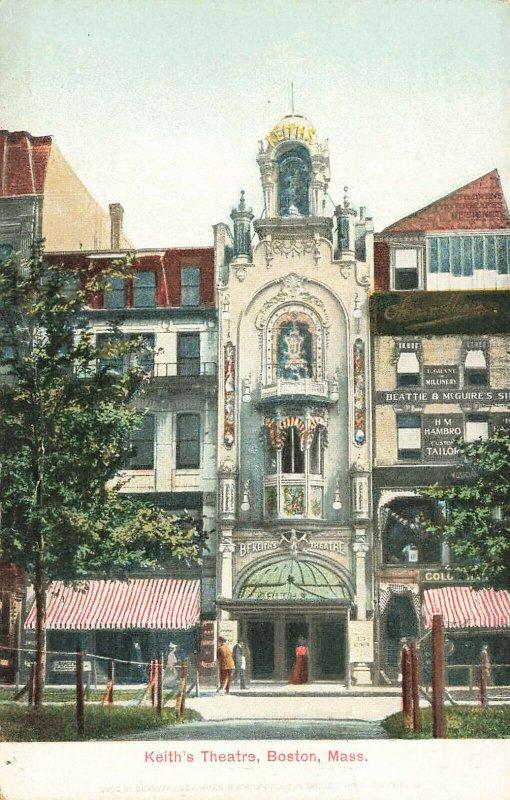 Boston MA B. F. Keith's Theatre Entrance H. M. Hambro Custom Tailor Postcard