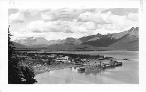 Seward Alaska~Aerial View City~Ship~Homes~Business~1947 Real Photo Postcard~RPPC