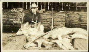 Hunting Hunter Posing Dead Deer Guns Rifles Dayville OR Written on Back RPPC