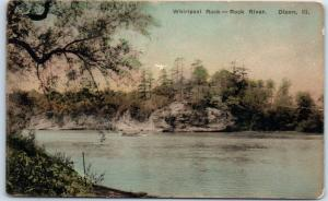 Dixon, Illinois Postcard Whirlpool Rock - Rock River Hand-Colored Albertype