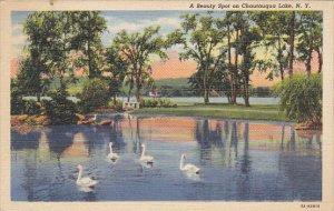 Beauty Spot on Chauatuqua Lake New York 1943 Curteich