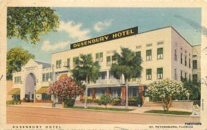 1940s St Petersburg Florida Dusenbury Hotel Roadside Teich linen postcard 9898