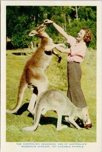 Woman Feeding Australian Kangaroo Australia Unused Nucolorvue Postcard G29