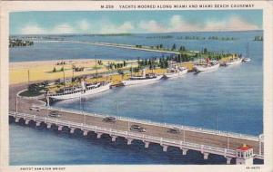 Florida Miami Beach Yachts Moored Along Miami And Miami Beach Causeway 1935