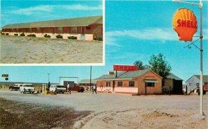 Autos Burns Oregon Shell Gas Station Wagontire Motel Postcard Merle 20-5957