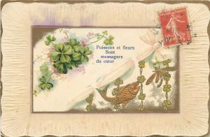 Embossed 1900s greetings luck shamrocks fish dragonfly fantasy vintage postcard