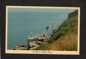 RI Steps Walkway to Ocean Cliff Walk Newport Rhode Island Postcard 40 Steps