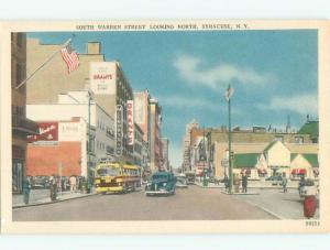 Unused Linen OLD CARS & SHOPS ON STREET Syracuse New York NY n1193-12