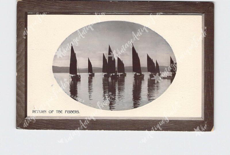 RPPC REAL PHOTO POSTCARD RETURN OF THE FISHERS SAIL BOATS ROTOGRAPH OPALETTE SER