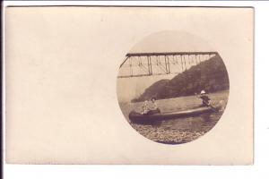 Real Photo, Man and Woman in Canoe, Sun Umbrella, Bridge, Round Image
