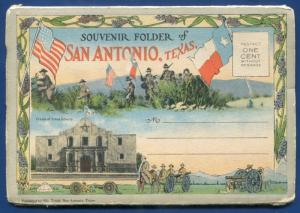 San Antonio Texas Alamo postcard travel folder foldout 1920s