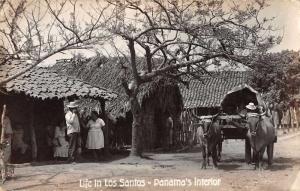Los Santos Panama typical village living ox drawn cart real photo pc Z24010