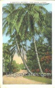 Driveway - Palm Beach, Florida FL Postcard