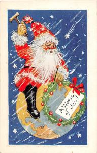 D92/ Santa Claus Merry Christmas Holiday Postcard c1910 World of Joy Earth 28