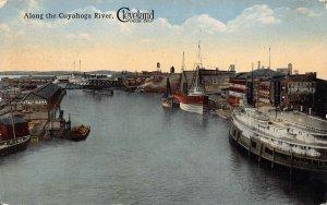 LPS49 CLEVELAND Ohio Cuyahoga River Postcard Steamer