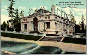 1909 AYPE Seattle World's Fair Postcard Cascades and Oriental Building Unused
