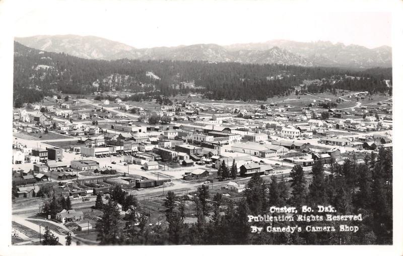 Custer South Dakota~Birdseye Main Street~Downtown~Homes~RR Box Cars~1950s RPPC
