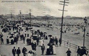 Boardwalk and Beach in Atlantic City, New Jersey