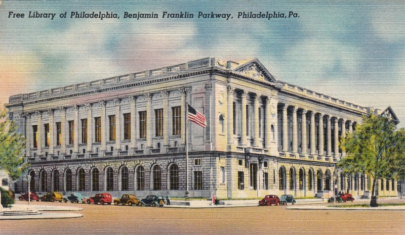 P1769 vintage free libary of philadelphia penn with old cars