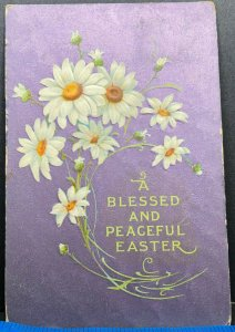 Easter Greeting Purple Daisies 1909 Flowers Antique Postcard