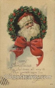 Christmas Santa Claus postal used unknown small crease right top corner tip a...