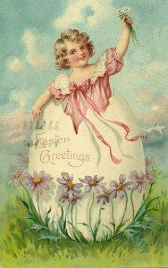 EASTER, PU-1974; Greetings, Little girl in huge egg shell, Purple Flowers