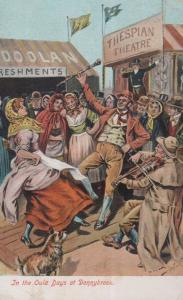 In the Old Days at Donnybrook Ireland Thespian Theatre Antique Comic Postcard