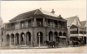 RPPC  KEMPSEY, N.S.W.  Australia   STREET SCENE~COMMERCIAL BANK c1910s Postcard