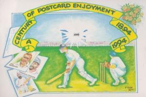Yorkshire Leeds Cricket Team 1994 Card Fayre Advertising Postcard