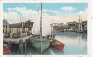 Massachusetts Gloucester Harbor Scene Curteich