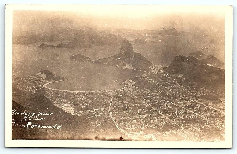 Postcard Brazil  RPPC Birds-eye View of Rio de Janeiro Dutcher Real Photo C9